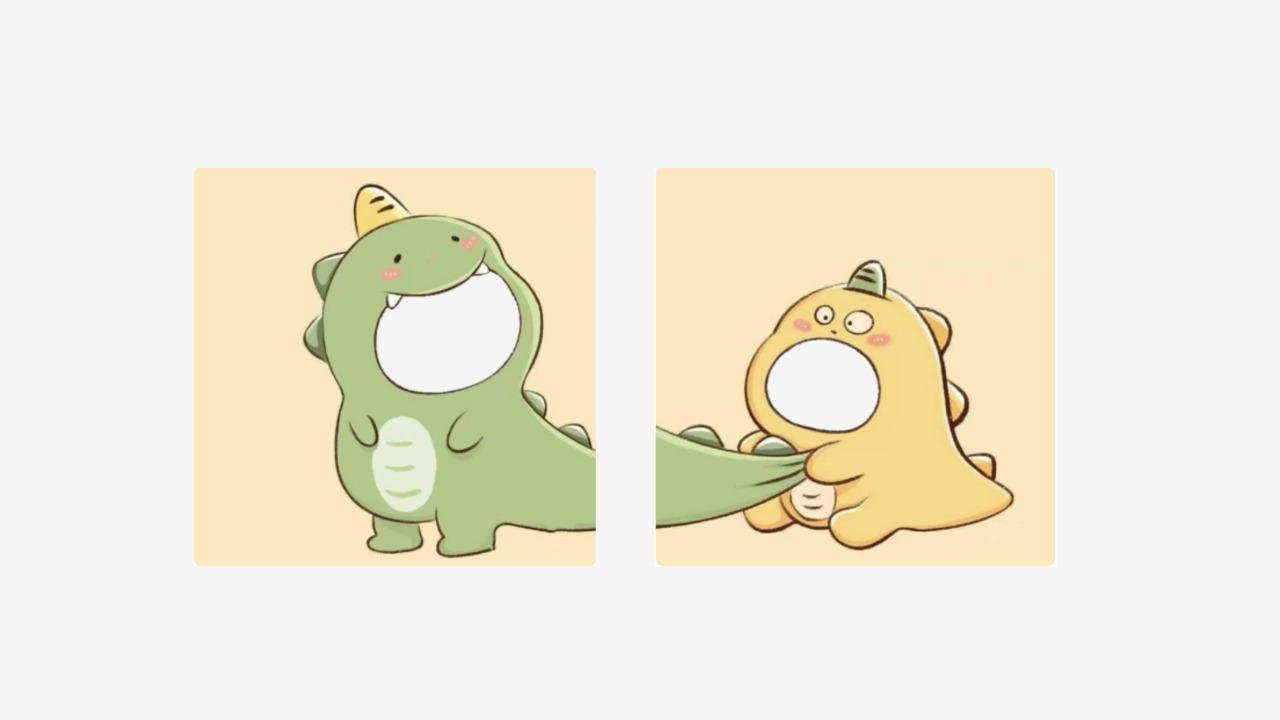 Twibbon Dino Kuning dan Hijau